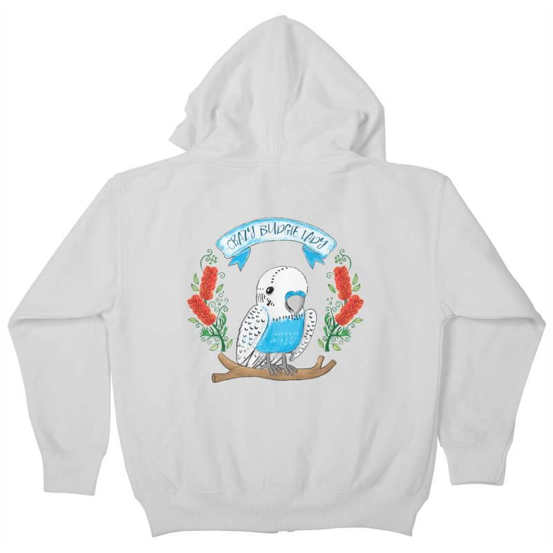 Crazy Budgie lady Kids Zip-Up Hoody by JAZZYDEVIL DESIGNZ