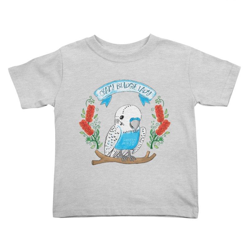 Crazy Budgie lady Kids Toddler T-Shirt by JAZZYDEVIL DESIGNZ