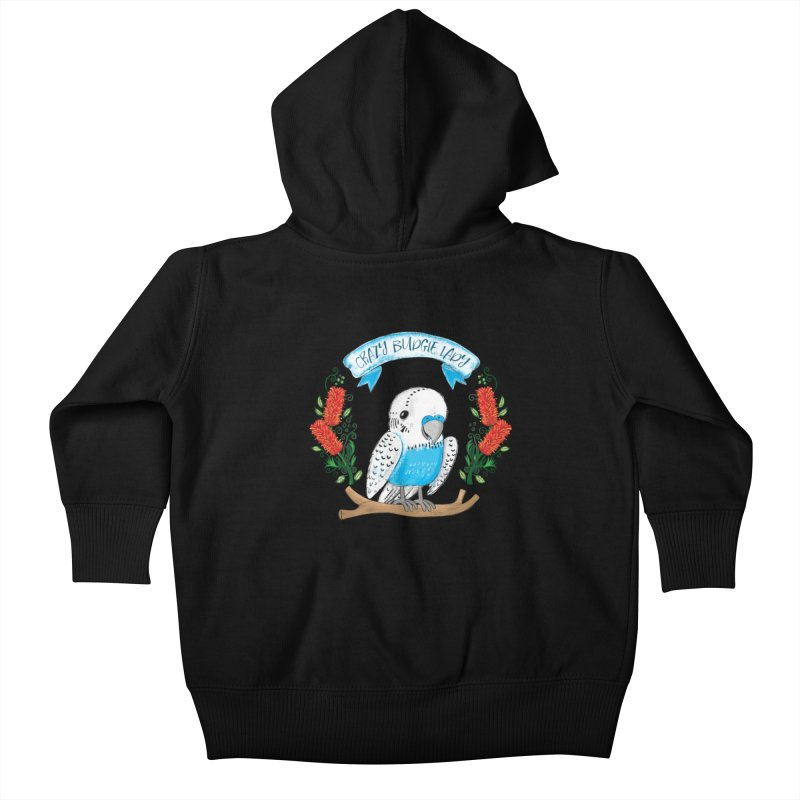 Crazy Budgie lady Kids Baby Zip-Up Hoody by JAZZYDEVIL DESIGNZ
