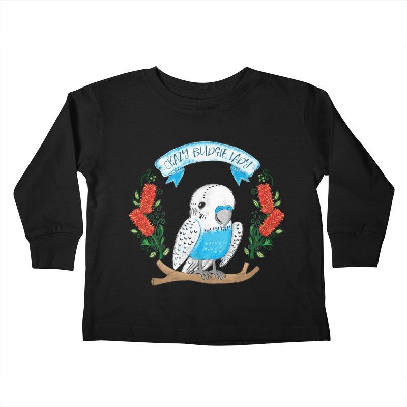 Crazy Budgie lady Kids Toddler Longsleeve T-Shirt by JAZZYDEVIL DESIGNZ