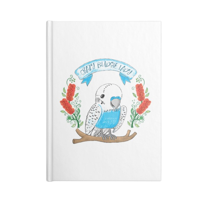 Crazy Budgie lady Accessories Notebook by JAZZYDEVIL DESIGNZ