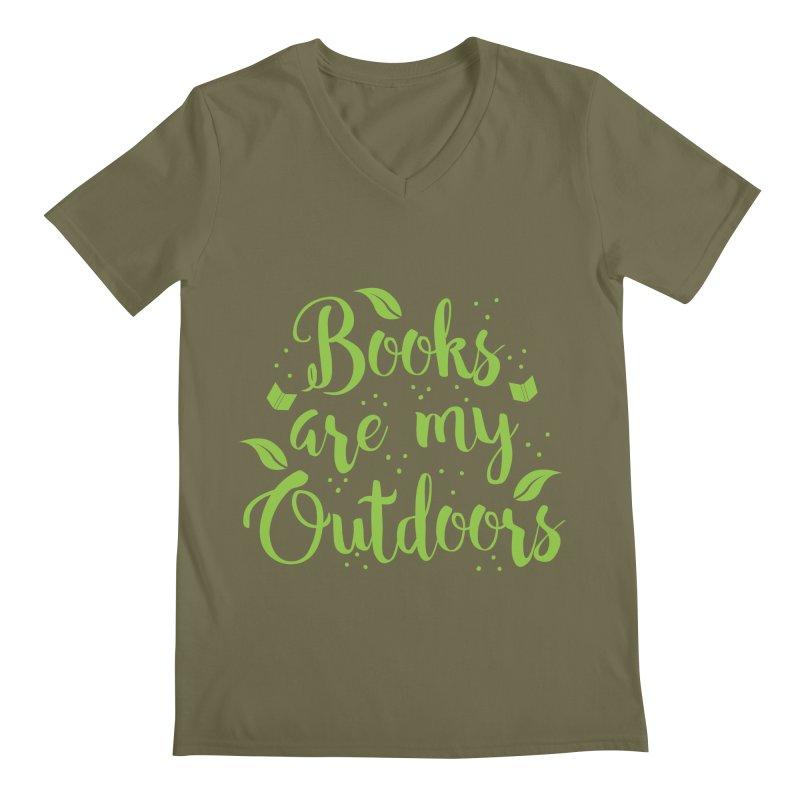 Books are my outdoors Men's V-Neck by JAZZYDEVIL DESIGNZ