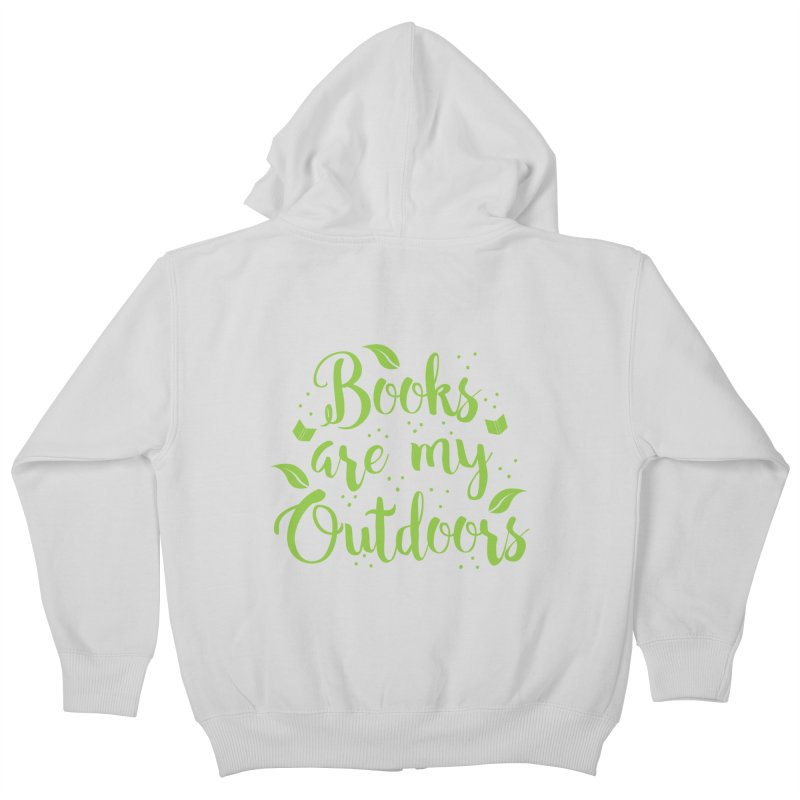 Books are my outdoors Kids Zip-Up Hoody by JAZZYDEVIL DESIGNZ