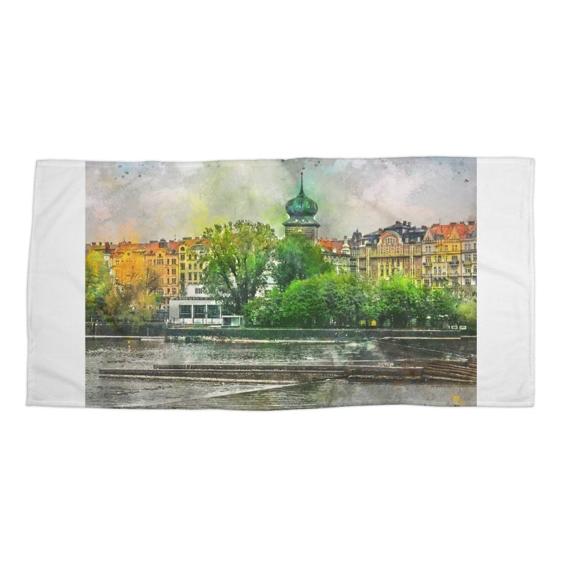 Praha city art #praha #prague Accessories Beach Towel by jbjart Artist Shop
