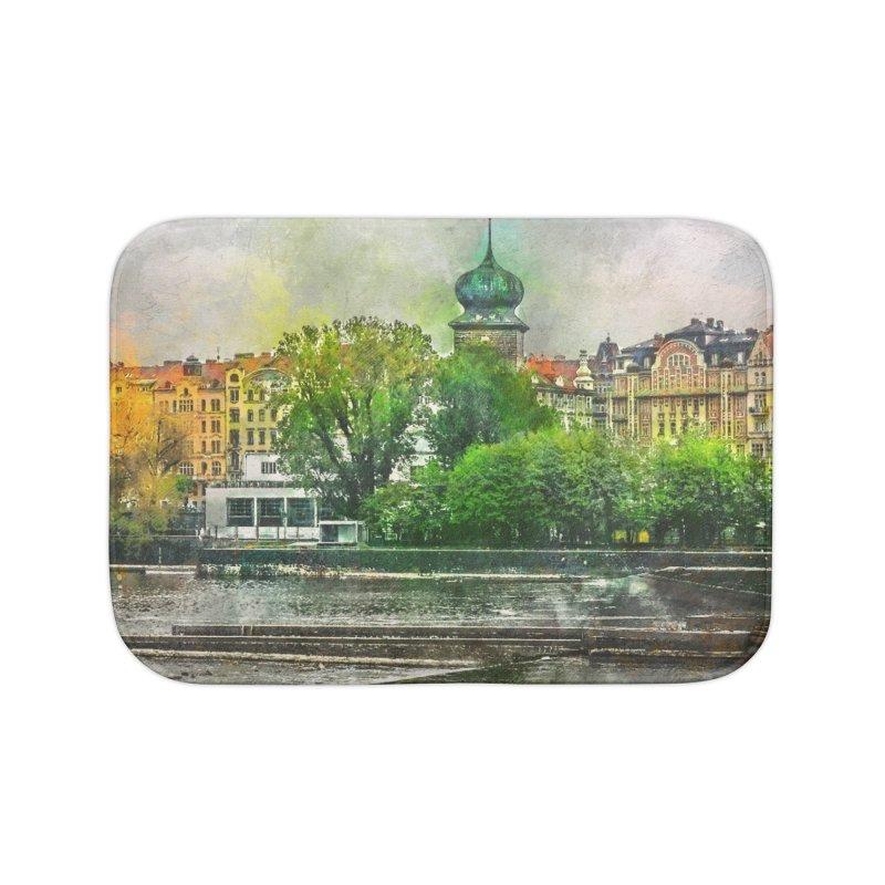 Praha city art #praha #prague Home Bath Mat by jbjart Artist Shop
