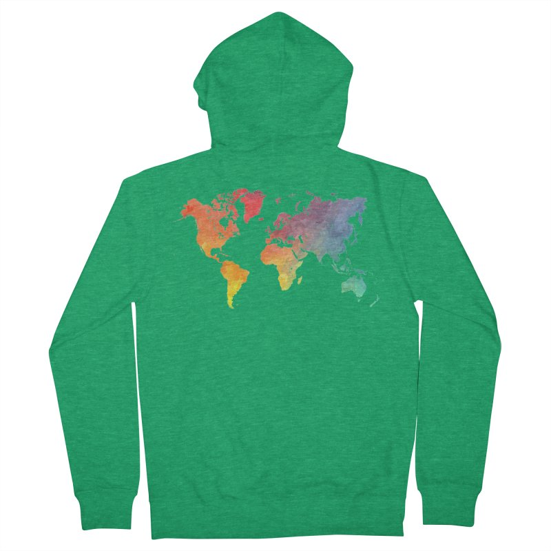 world map Women's Zip-Up Hoody by jbjart Artist Shop