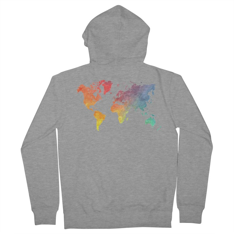 world map Women's French Terry Zip-Up Hoody by jbjart Artist Shop