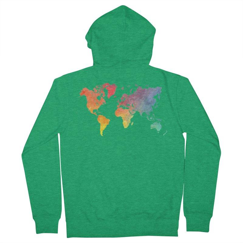 world map Men's French Terry Zip-Up Hoody by jbjart Artist Shop