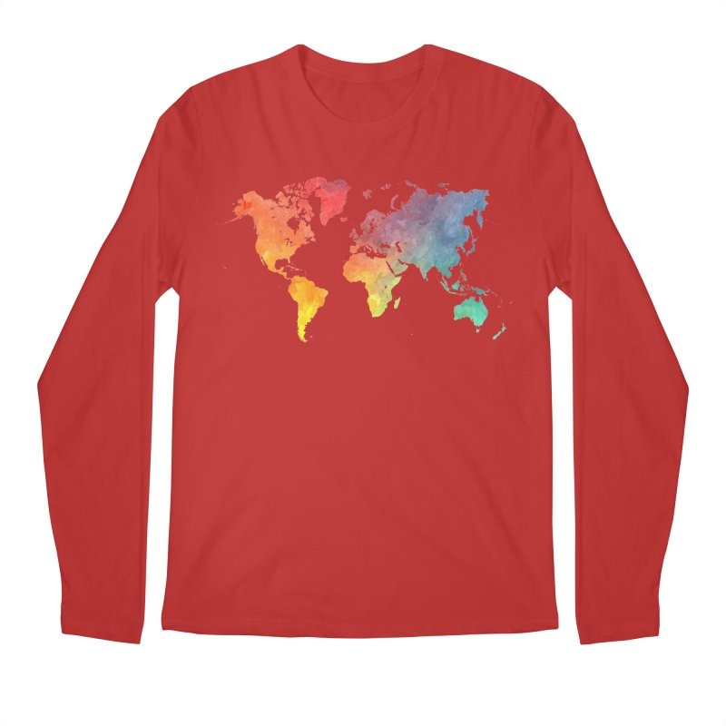 world map Men's Regular Longsleeve T-Shirt by jbjart Artist Shop