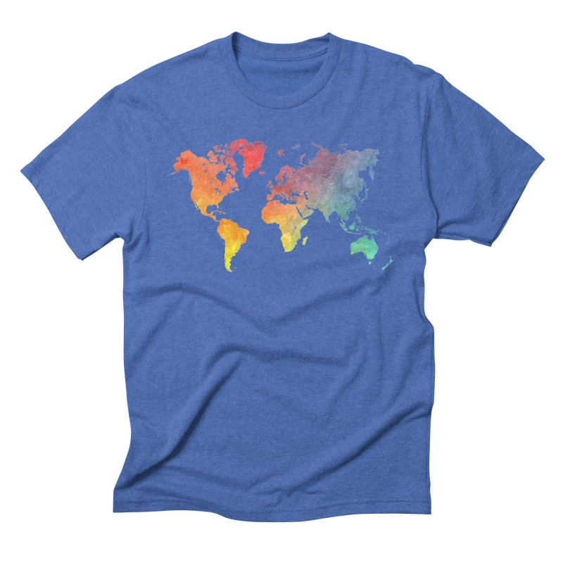world map Men's Triblend T-Shirt by jbjart Artist Shop