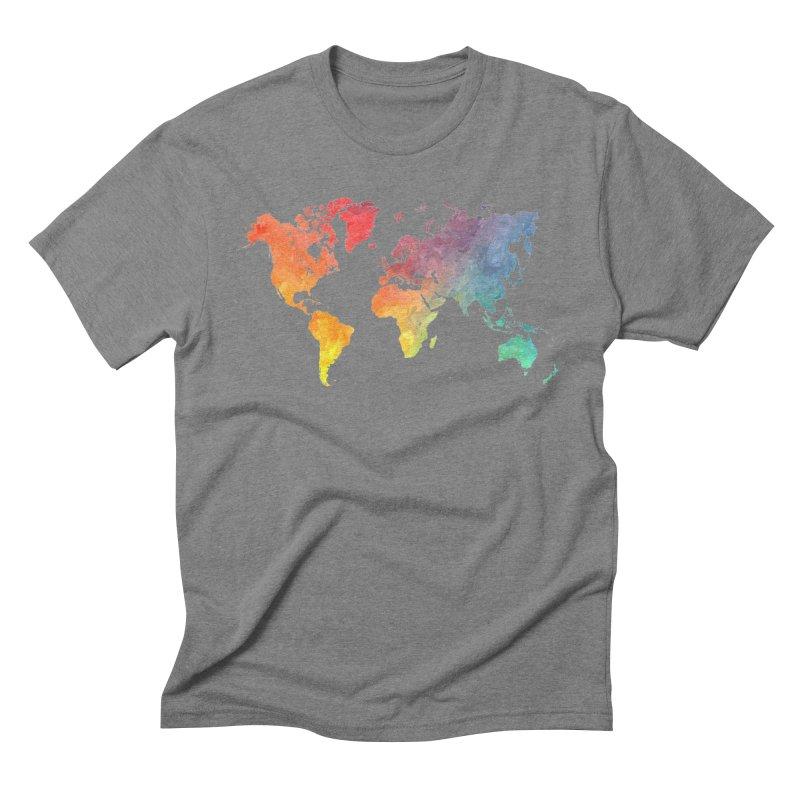 world map Men's Triblend T-Shirt by jbjart Artist Shop
