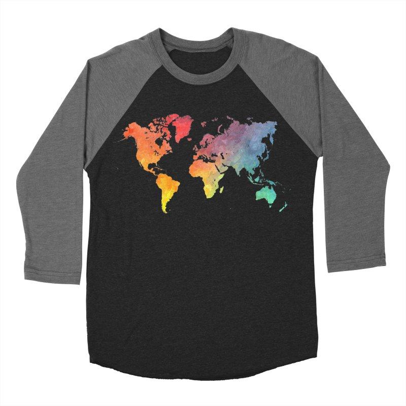 world map Men's Baseball Triblend Longsleeve T-Shirt by jbjart Artist Shop