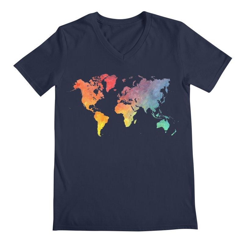 world map Men's Regular V-Neck by jbjart Artist Shop