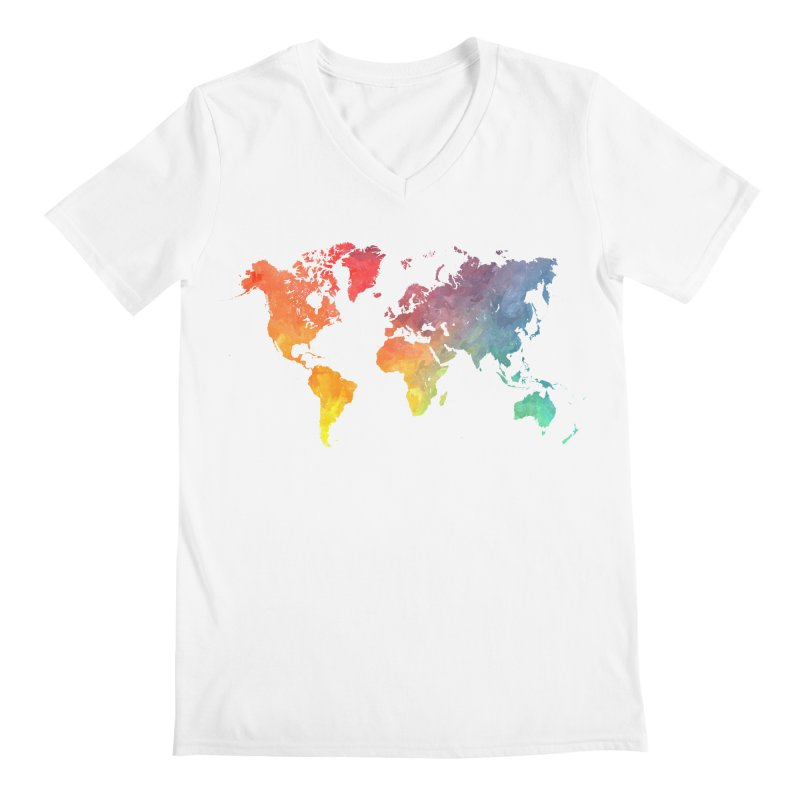 world map Men's V-Neck by jbjart Artist Shop