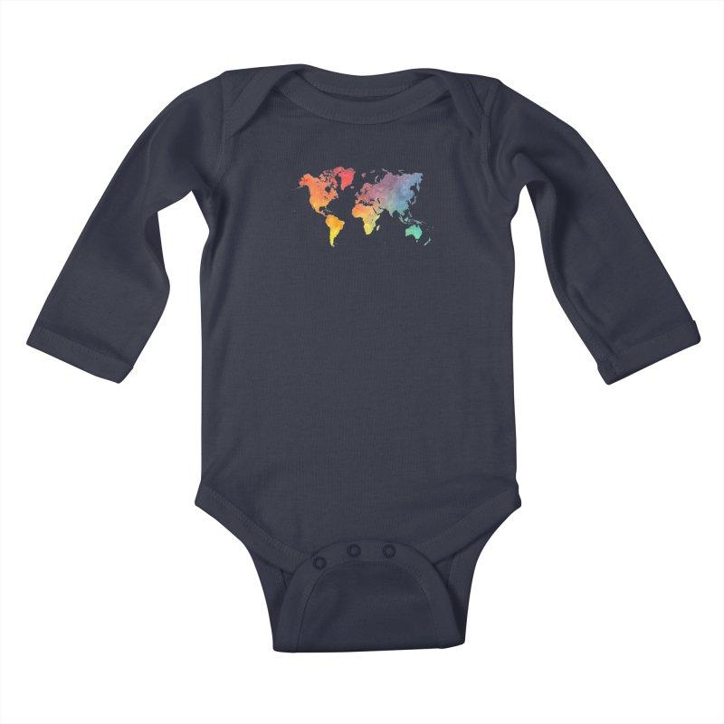 world map Kids Baby Longsleeve Bodysuit by jbjart Artist Shop