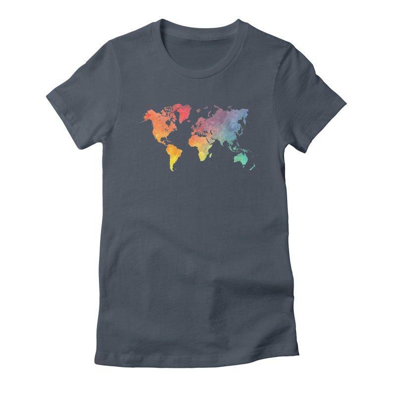 world map Women's T-Shirt by jbjart Artist Shop