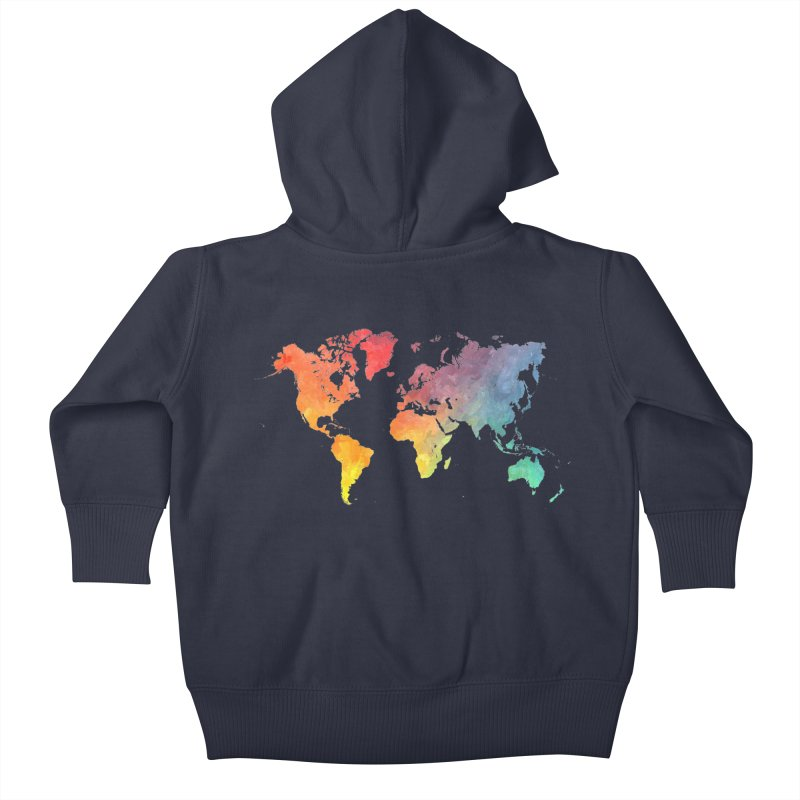 world map Kids Baby Zip-Up Hoody by jbjart Artist Shop