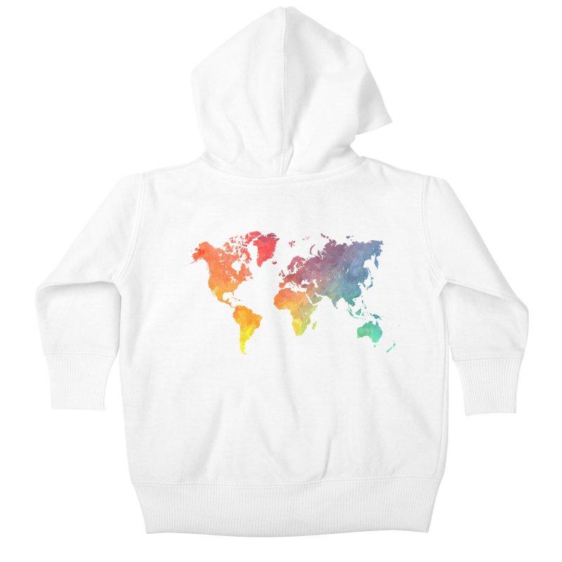 world map Kids Baby Zip-Up Hoody by jbjart Artist Shop