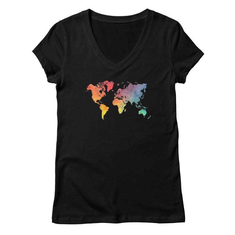 world map Women's V-Neck by jbjart Artist Shop