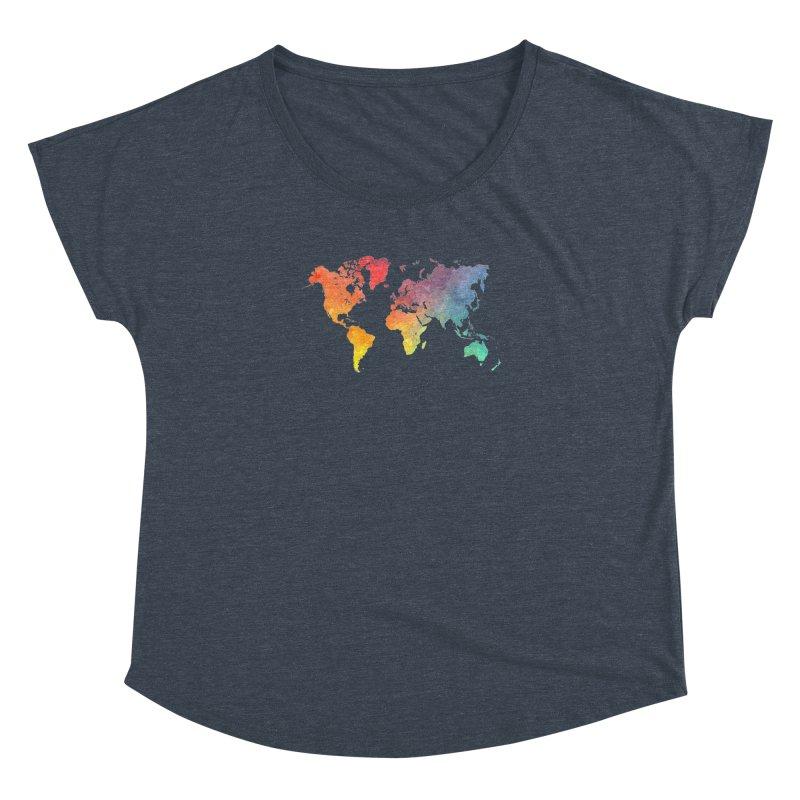 world map Women's Dolman Scoop Neck by jbjart Artist Shop