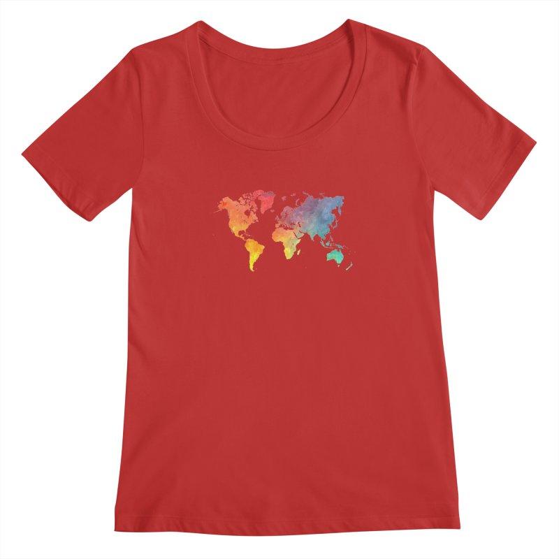 world map Women's Regular Scoop Neck by jbjart Artist Shop