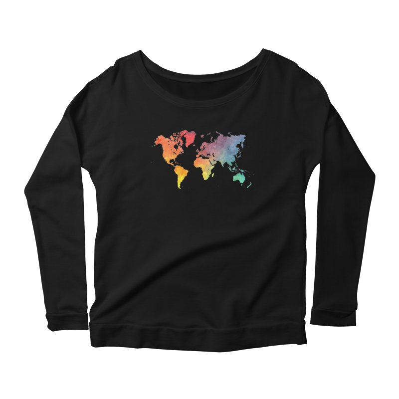 world map Women's Scoop Neck Longsleeve T-Shirt by jbjart Artist Shop