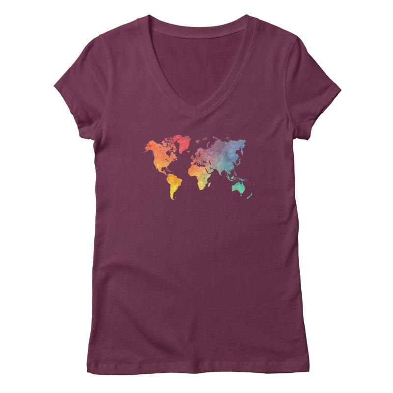 world map Women's Regular V-Neck by jbjart Artist Shop