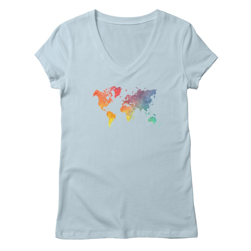 world map Women's V-Neck by jbjart Artist Shop