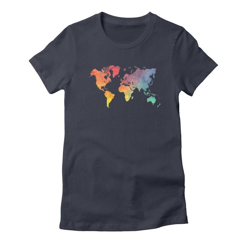 world map Women's Fitted T-Shirt by jbjart Artist Shop