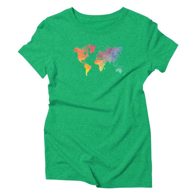 world map Women's Triblend T-Shirt by jbjart Artist Shop