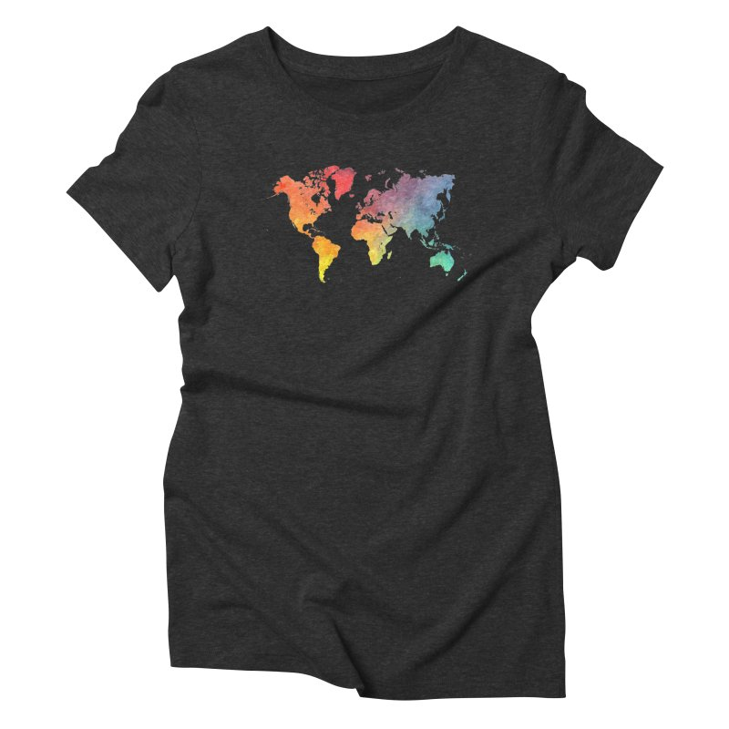 world map Women's Triblend T-Shirt by jbjart Artist Shop