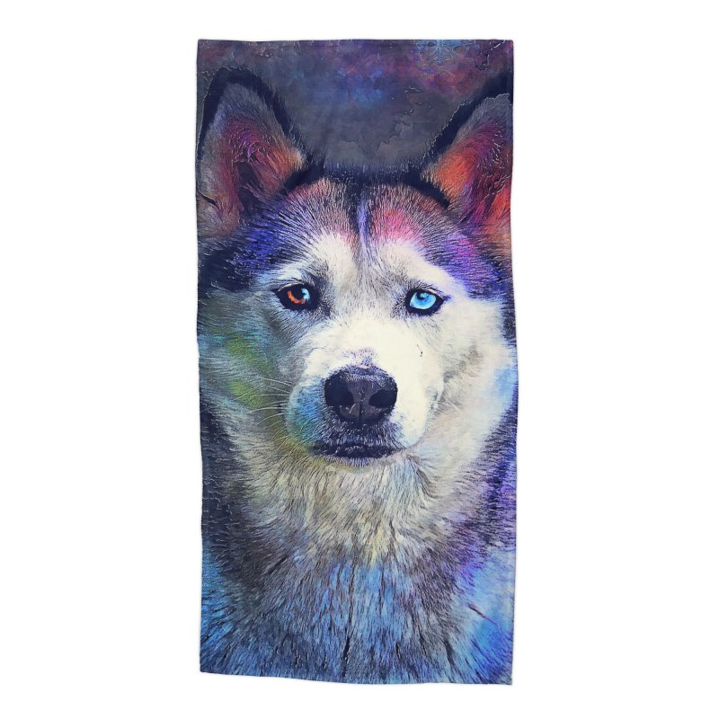 dog husky Accessories Beach Towel by jbjart Artist Shop
