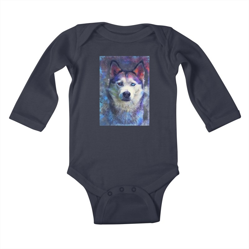 dog husky Kids Baby Longsleeve Bodysuit by jbjart Artist Shop