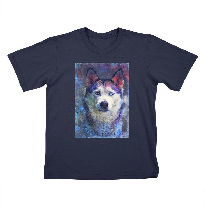 dog husky Kids T-Shirt by jbjart Artist Shop