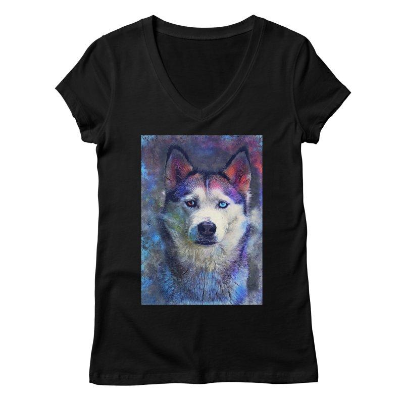 dog husky Women's V-Neck by jbjart Artist Shop