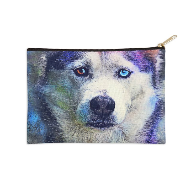 dog husky Accessories Zip Pouch by jbjart Artist Shop