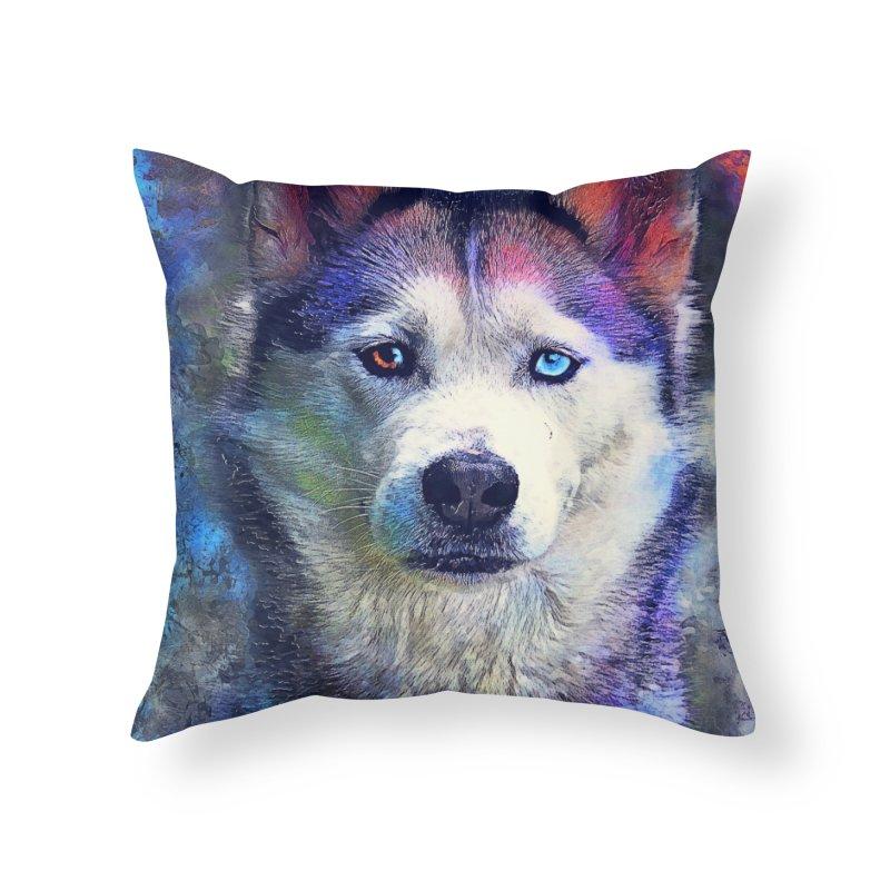 dog husky Home Throw Pillow by jbjart Artist Shop