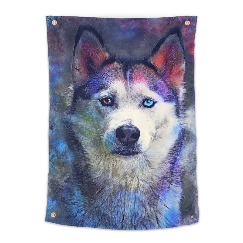 dog husky Home Tapestry by jbjart Artist Shop