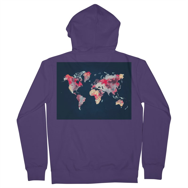 world map 2  Women's French Terry Zip-Up Hoody by jbjart Artist Shop