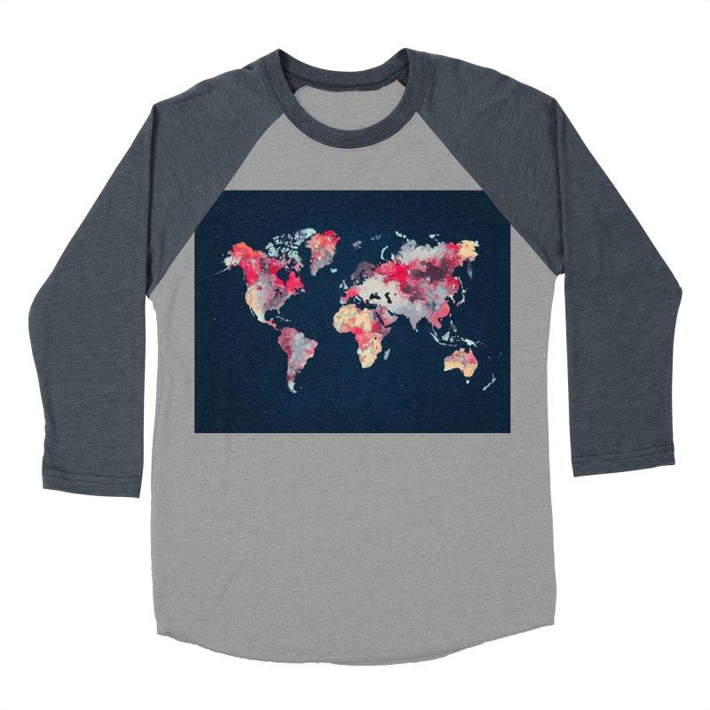 world map 2  Men's Baseball Triblend Longsleeve T-Shirt by jbjart Artist Shop