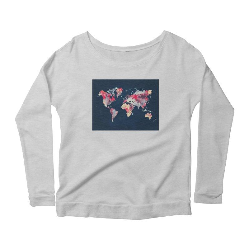 world map 2  Women's Scoop Neck Longsleeve T-Shirt by jbjart Artist Shop