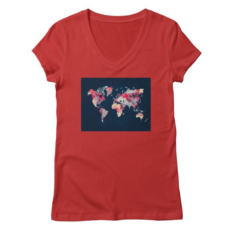world map 2  Women's Regular V-Neck by jbjart Artist Shop