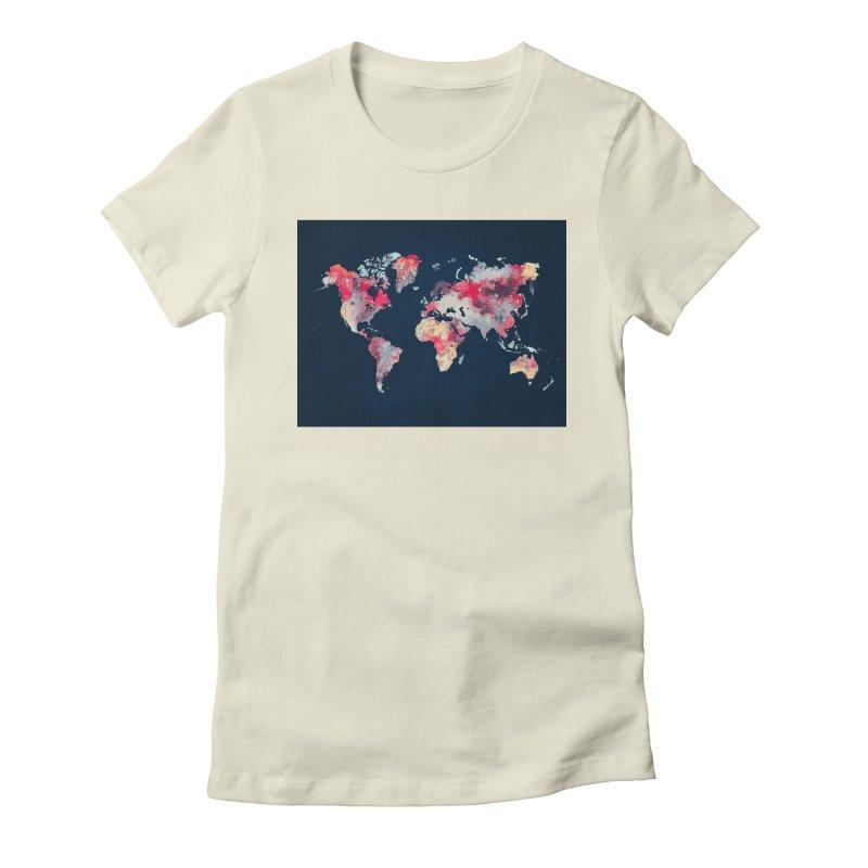 world map 2  Women's Fitted T-Shirt by jbjart Artist Shop