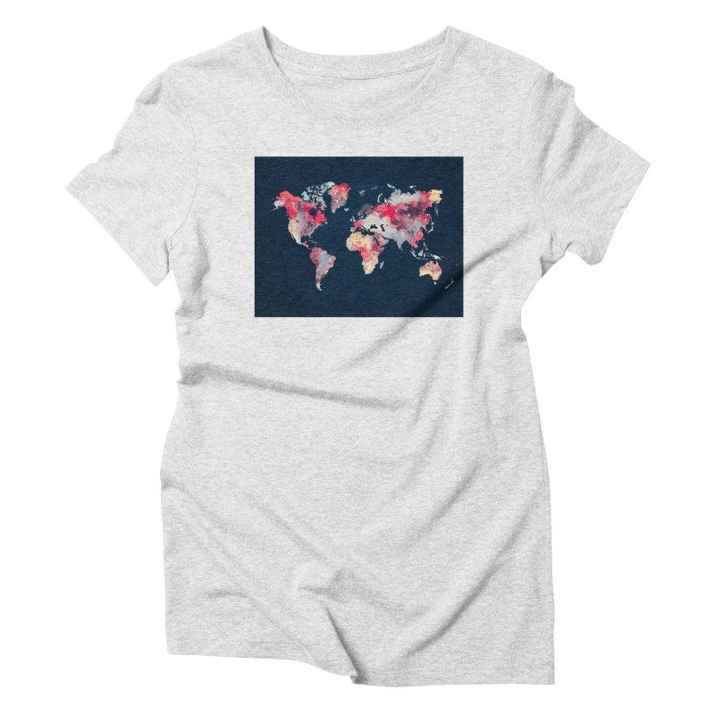 world map 2  Women's Triblend T-Shirt by jbjart Artist Shop