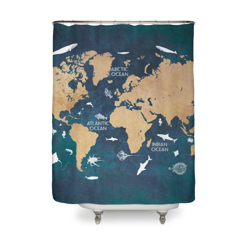world map oceans and continents 9 in Shower Curtain by jbjart Artist Shop