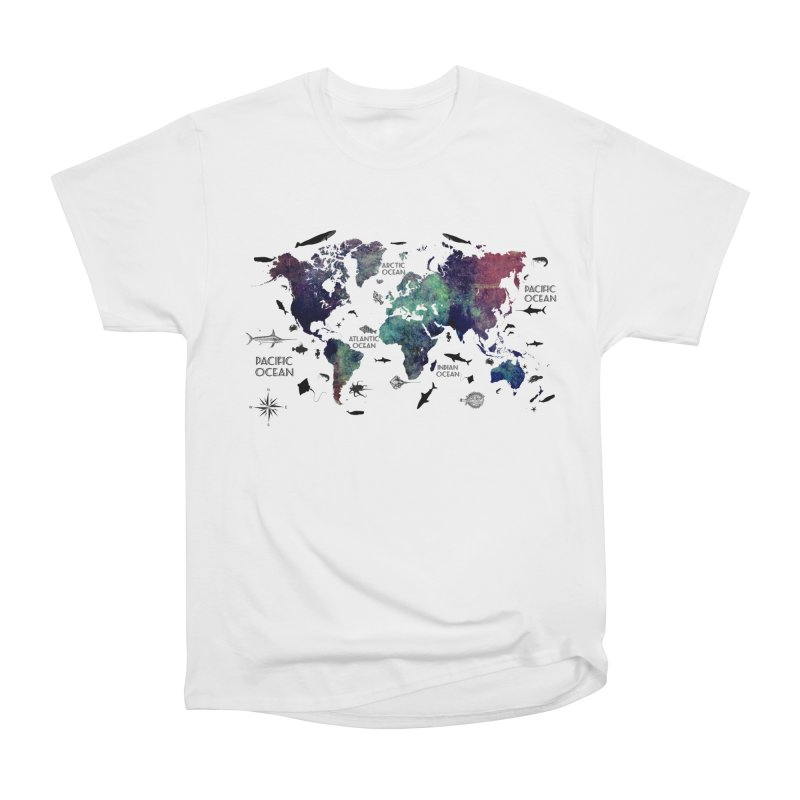 world map 12 in Women's Heavyweight Unisex T-Shirt White by jbjart Artist Shop