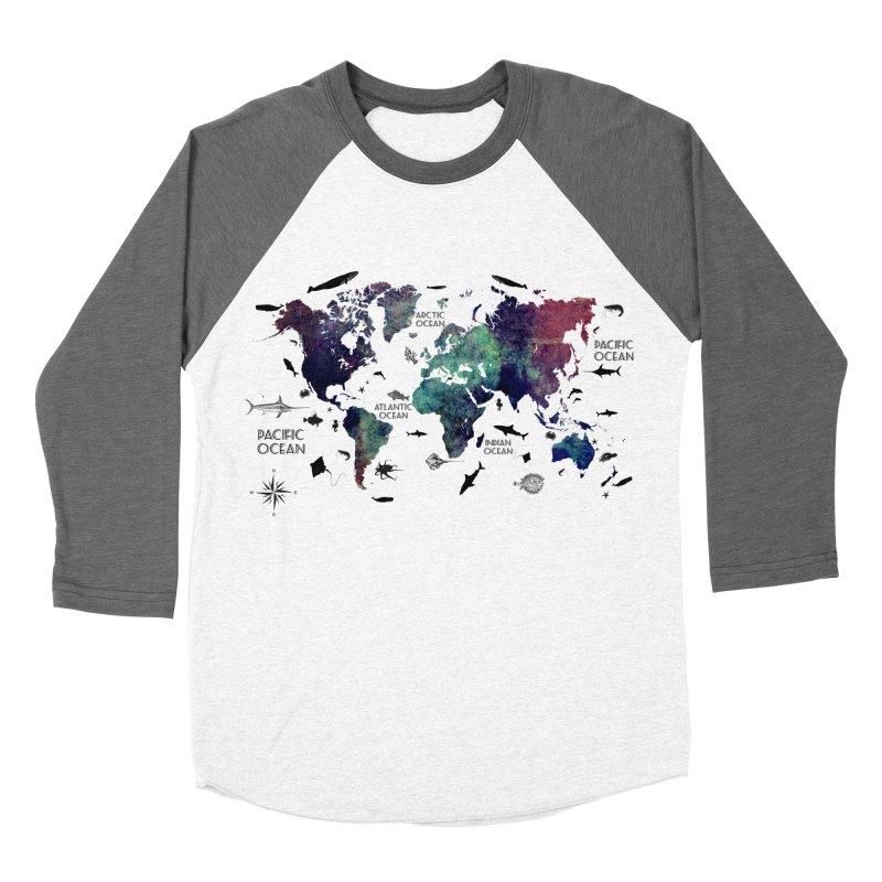 world map 12 Women's Baseball Triblend Longsleeve T-Shirt by jbjart Artist Shop