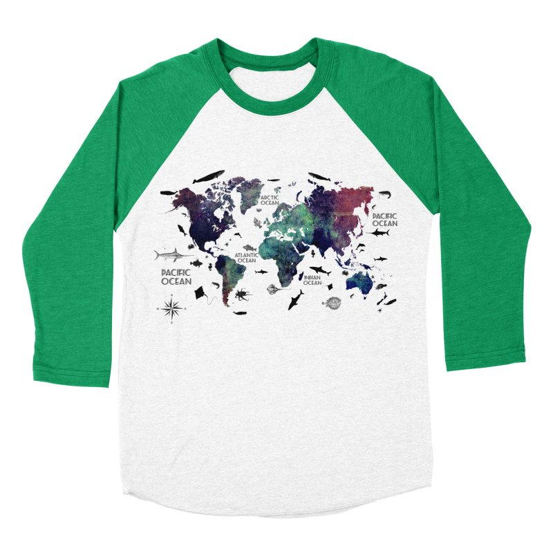 world map 12 Women's Baseball Triblend Longsleeve T-Shirt by jbjart Artist Shop