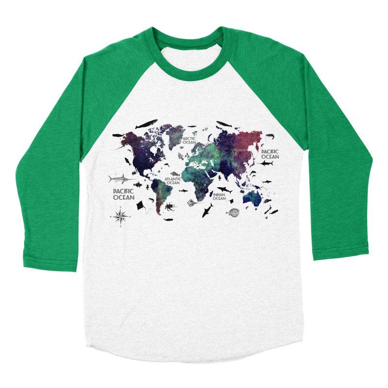 world map 12 Men's Baseball Triblend Longsleeve T-Shirt by jbjart Artist Shop