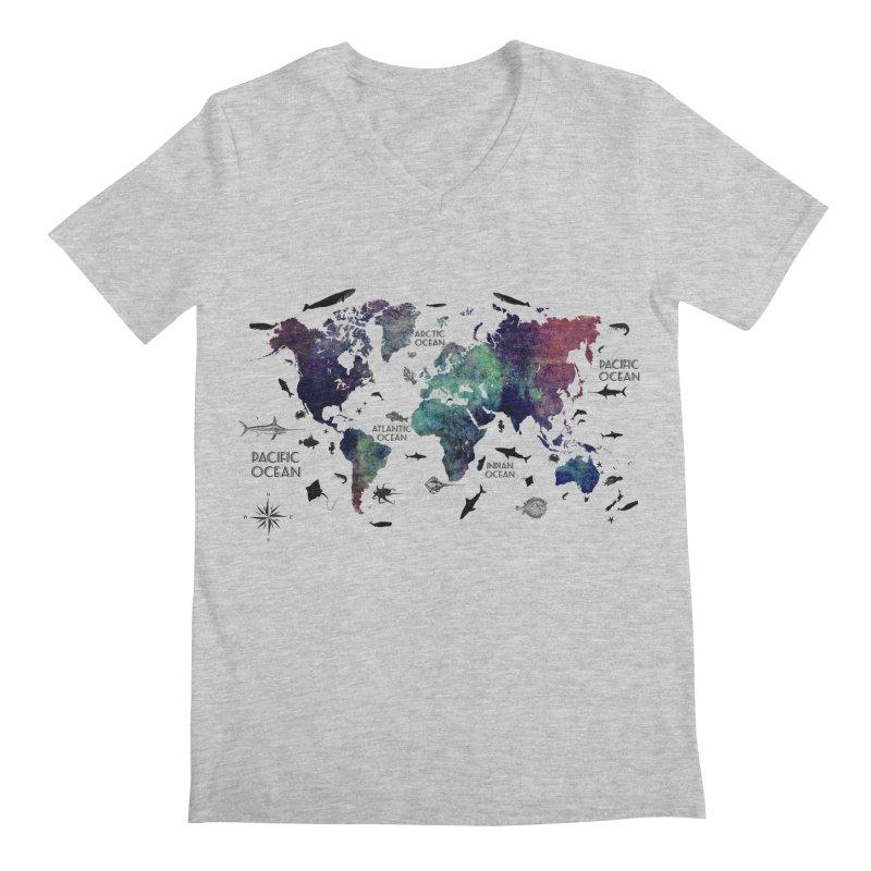 world map 12 Men's Regular V-Neck by jbjart Artist Shop